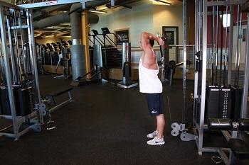 Французский жим с нижнего блока в положении стоя - изолирующее, силовое упражнение для проработки трёхглавой мышцы плеча (трицепс)