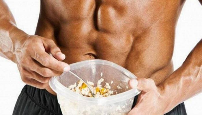 Питание, контейнер с пищей, мышцы пресса, диета