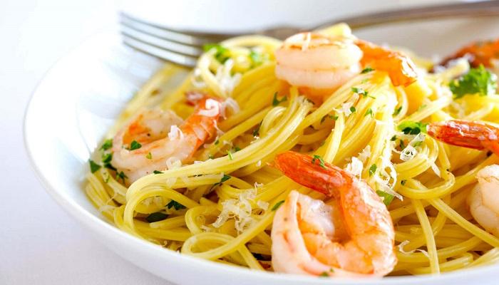 Спагетти, креветки