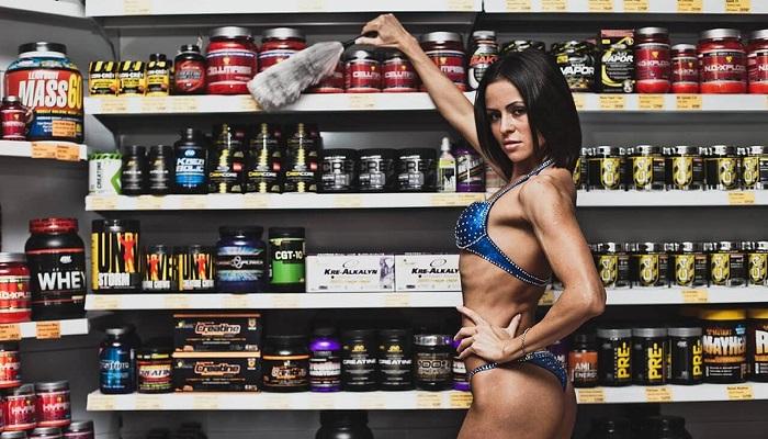 Девушка, фитнес, спортивное питание