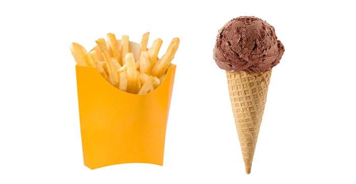 Мороженое, картофель фри